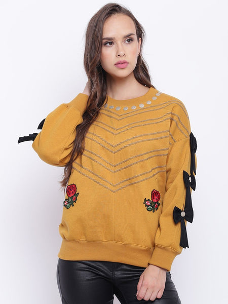 Texco Embroidered Stylish Sleeves Sweatshirt For Women - Fashiano
