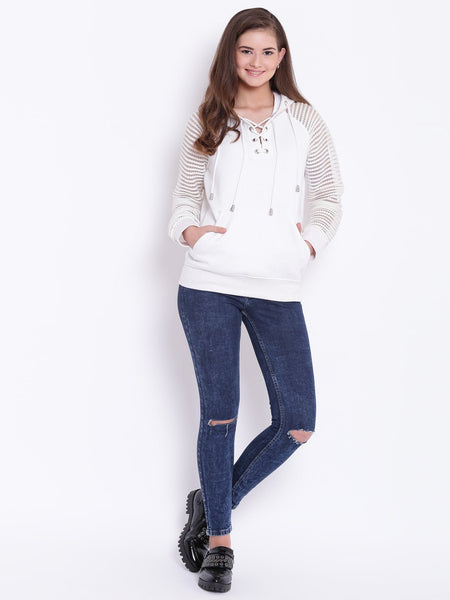 Texco Lace Sleeve Hooded Sweatshirt For Women - Fashiano