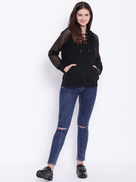 Sweat Shirts - Texco Lace Sleeve Hooded Sweatshirt For Women