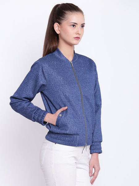 Texco Stand Collar Stylish Bomber Jacket For Women - Fashiano