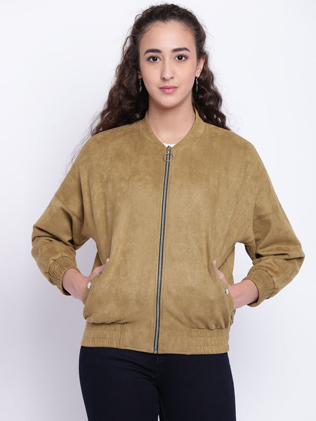 Texco Emboss Puffer Suede Stand Collar Bomber Jacket For Women - Fashiano