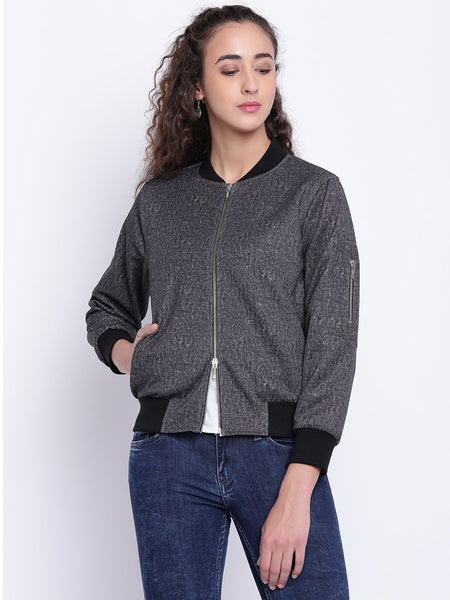 Texco Stand Collar Bomber Jacket For Women - Fashiano