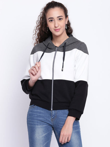Texco Colour Block Stylish Hooded Bomber Jacket For Women - Fashiano