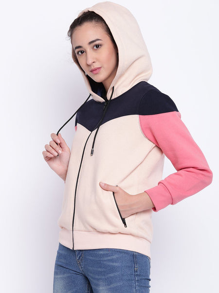 Jackets - Texco Colour Block Stylish Hooded Bomber Jacket For Women
