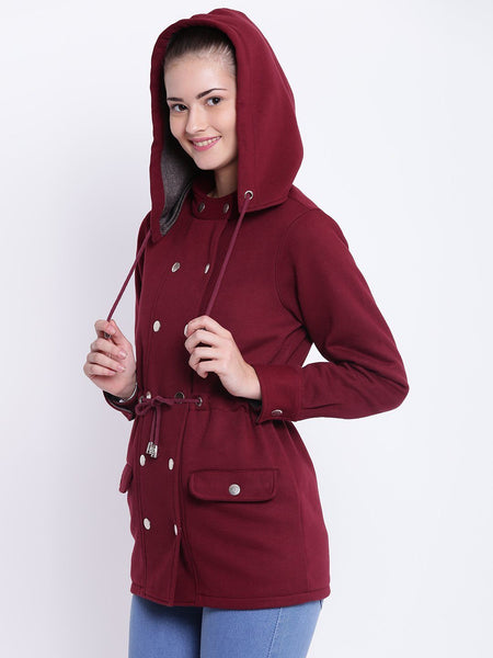 Texco Winter Detachable Hooded Parka Jacket For Women - Fashiano