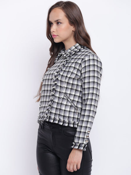 Jackets - Texco Checkered Lapel Collar Stylish Jacket For Women