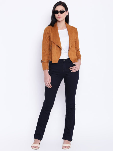 Texco Waterfall Shawl Collar Suede Jacket For Women - Fashiano
