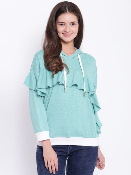 Texco Hooded Ruffled Stylish Top For Women - Fashiano