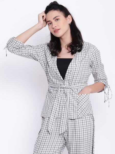 Texco Woman Checkered Stylish Sleeves and Knot Styled Blazer - Fashiano