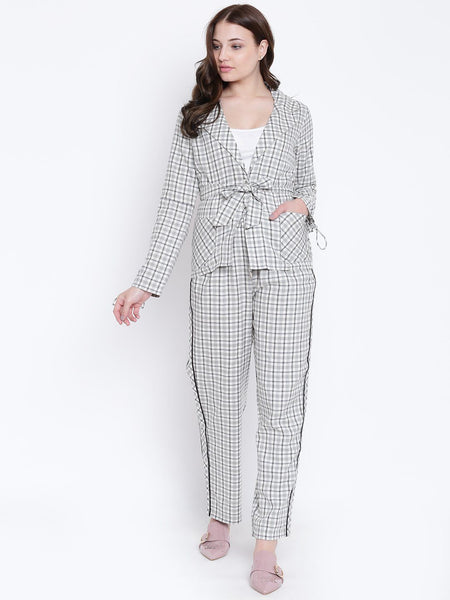 Texco Woman Checkered Stylish Blazer And Trousers Co-ords Set - Fashiano