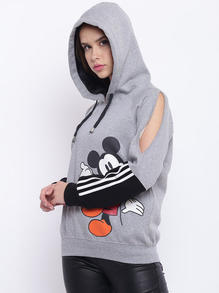 Texco Mickey Mouse Printed Color Block Hooded Sweatshirt For Women - Fashiano