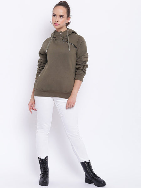 Texco Zipper Detailed Hooded Sweatshirt For Women - Fashiano