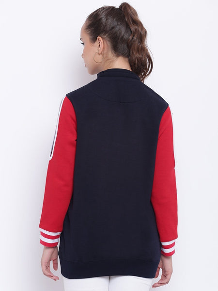 Texco Navy and Red Embroidered Detachable Hooded Sweatshirt For Women - Fashiano