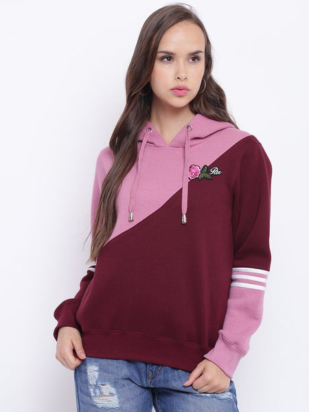 Sweat Shirts - Texco Embroidered Hooded Sweatshirt For Women