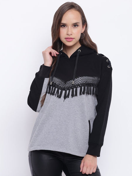 Texco Lace Hooded Sweatshirt For Women - Fashiano