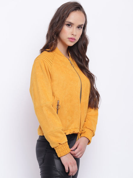 Texco Suede Designer Bomber Jacket For Women - Fashiano