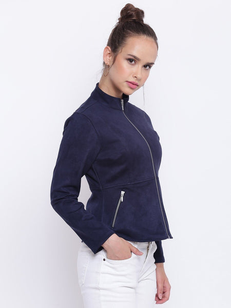 Texco Suede Designer Peplum Jacket For Women - Fashiano
