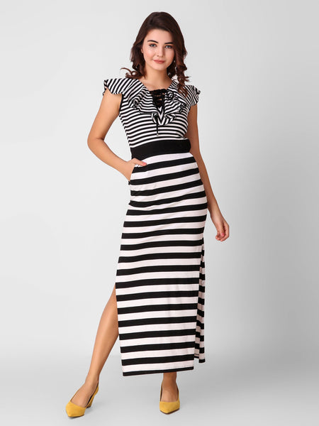 Texco Striped Stylish Women Maxi Dress - Fashiano