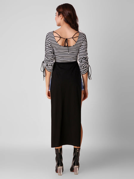 Texco Striped Party Wear Women Maxi Top - Fashiano