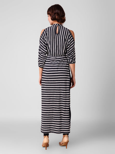 Texco Striped Dolman Sleeves Women Maxi Top - Fashiano