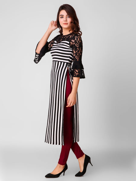 Texco Striped Women Lacy Maxi Top - Fashiano