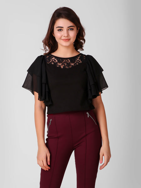 Texco Printed Butterfly Ruffle Sleeve Women Lace Crop Top - Fashiano