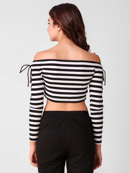 Texco Stripe Women Off Shoulder Crop Top - Fashiano