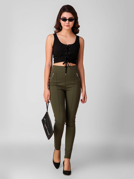 Texco Front Tie-Up Detail Styled Crop Top - Fashiano
