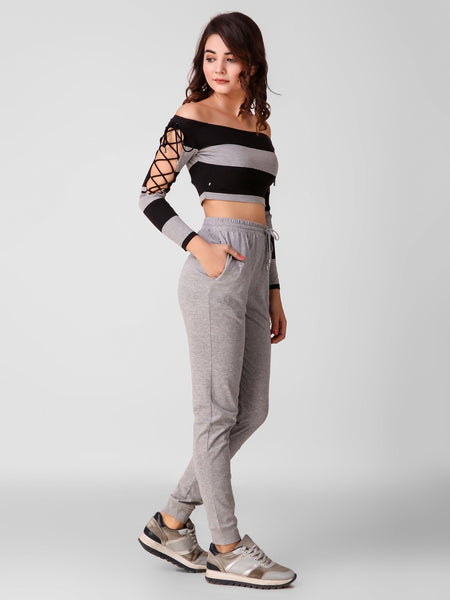 Texco Striped Crop Top And Joggers Women Co-Ords Set - Fashiano