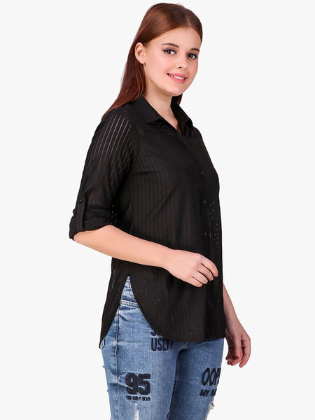 Texco Self Striped High-Low Women Shirt - Fashiano