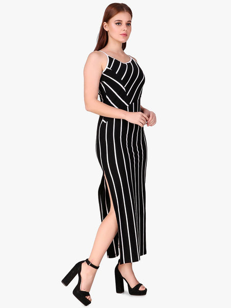 Texco Striped Stylish Back Women Dress - Fashiano