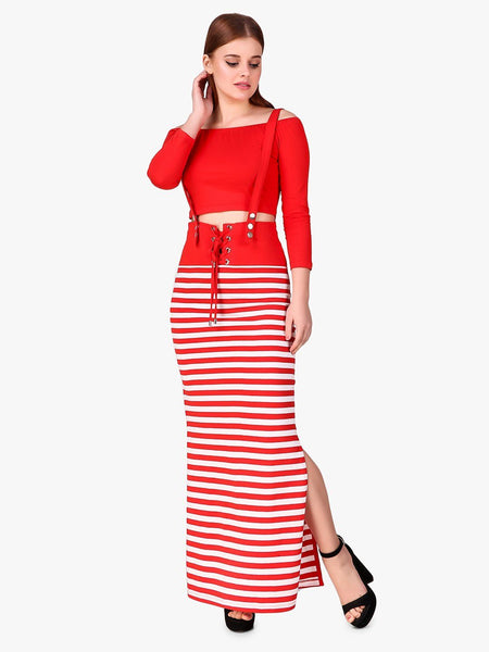 Texco Striped Suspender Women Party Wear Two Piece Dress - Fashiano