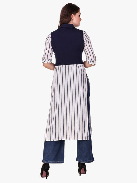 Texco White and Navy Striped Long Kurta Top with Jacket for Women - Fashiano