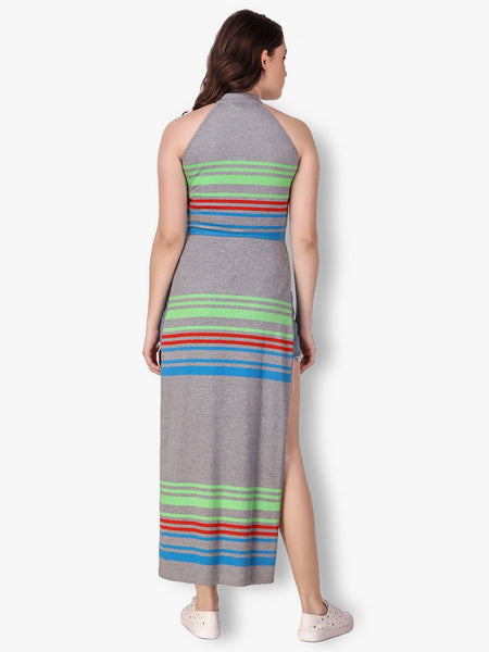 Texco Striped Jersey Mock Neck Stylish Maxi Top for Women - Fashiano