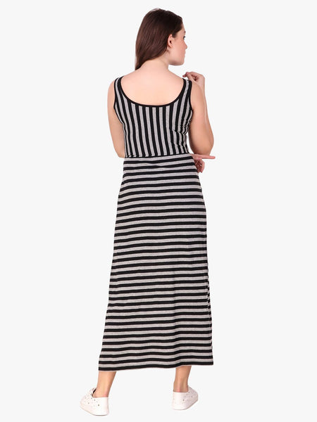 Texco Striped Front Slit Maxi Top for Women - Fashiano
