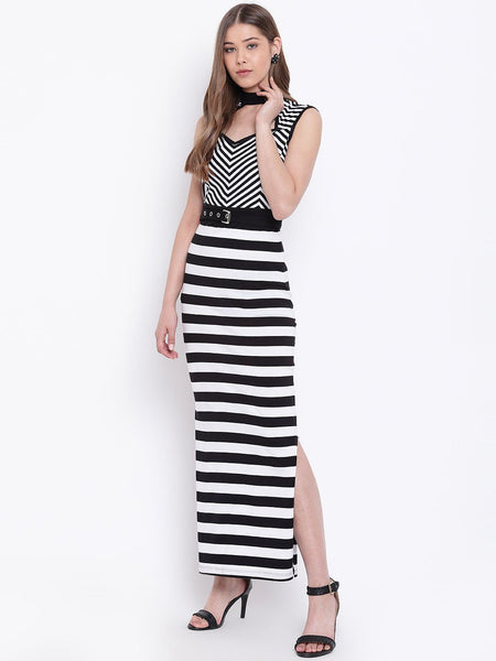 Texco Striped Side Slit Maxi Dress for Women - Fashiano