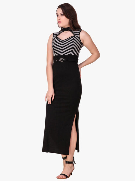 Texco halter neck Striped Side Slit Maxi Dress for Women - Fashiano
