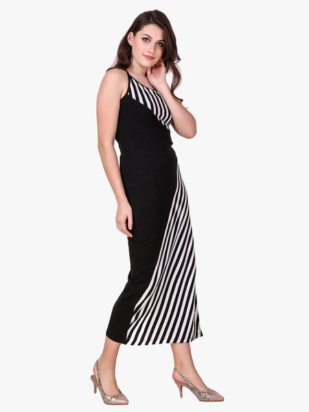 Texco Striped Stylish Back Maxi Dress for Women - Fashiano