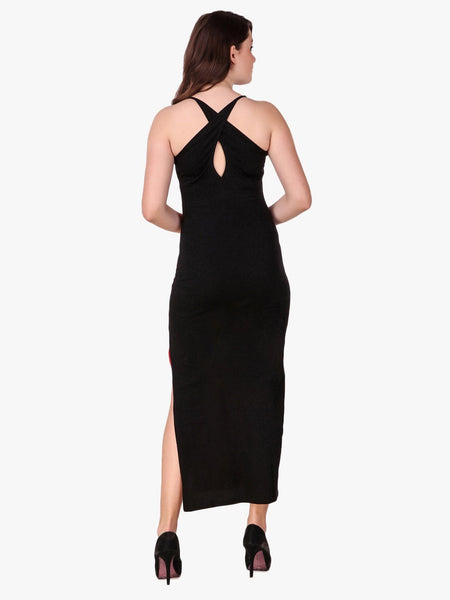 Texco Color Block Stylish Back Maxi Dress for Women - Fashiano