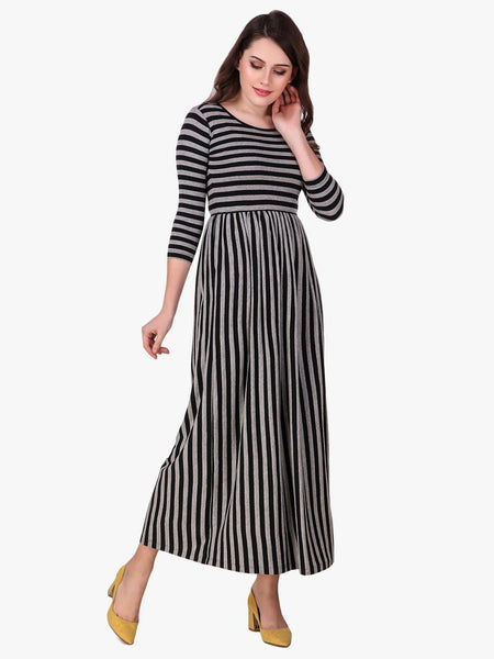 Texco Striped Long Maxi Dress for Women - Fashiano