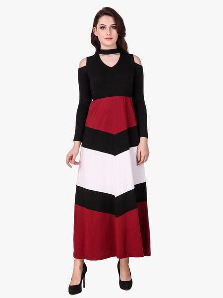 Texco Chevron Striped Dress for Women - Fashiano