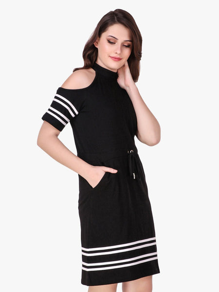 Texco Cold Shoulder Blouson T-Shirt Dress for Women - Fashiano