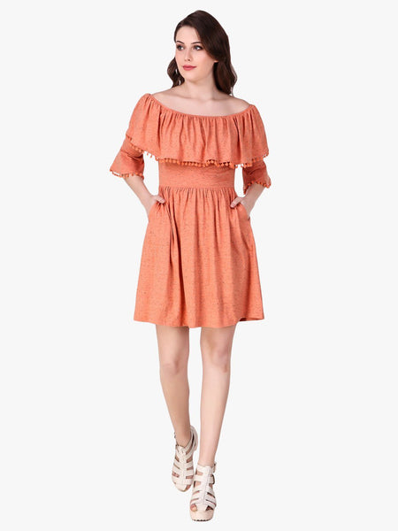 Texco Melange Off Shoulder Ruffle Dress for Women - Fashiano