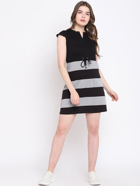 Texco Striped Skater Dress for Women - Fashiano