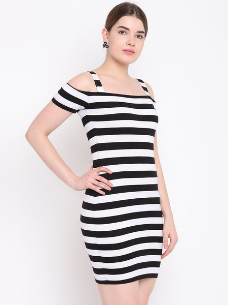 Texco Striped Body con Dress for Women - Fashiano