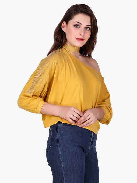 Texco One Off Shoulder Embellished Top for Women - Fashiano