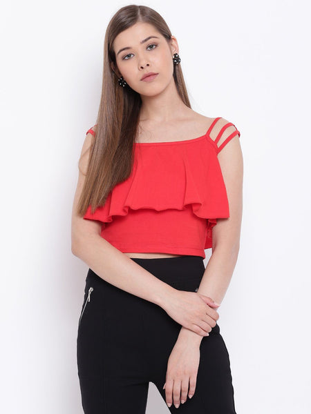 Texco Ruffle Crop Top for Women - Fashiano