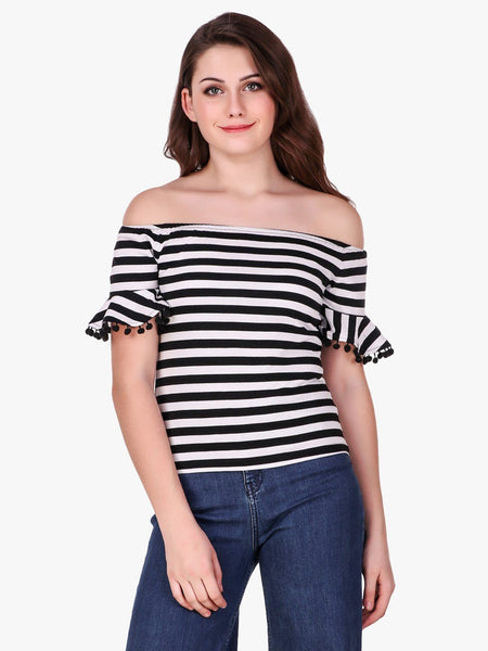 Texco Striped Off Shoulder Stylish Back Top for Women - Fashiano