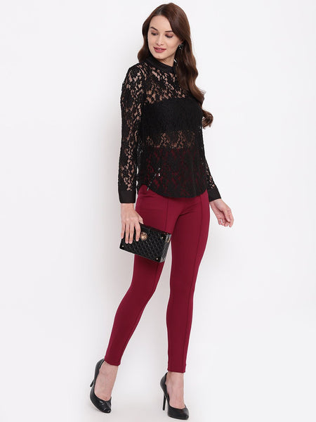 Texco Women Lace  Shirt Style Event Party Top - Fashiano