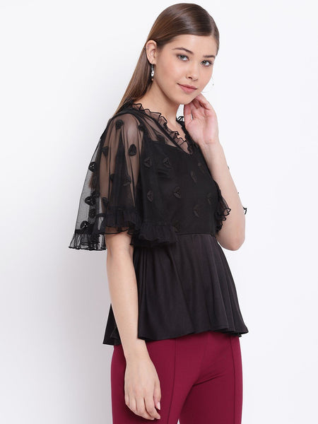 Tops - Texco Women Peplum Embroidered Lace Party Top